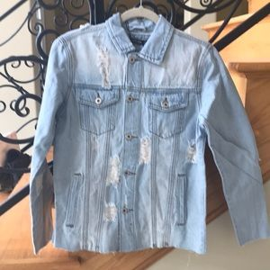 Nasty Gal Jacket Denim Size 2 Raw edge Lt Blue NWT